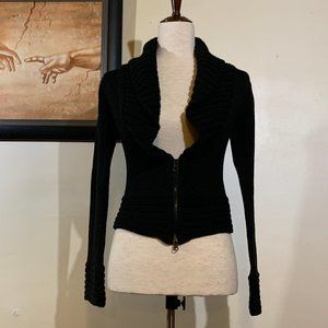 Fashion Bug brand Black Cable Knit Crop Sweater